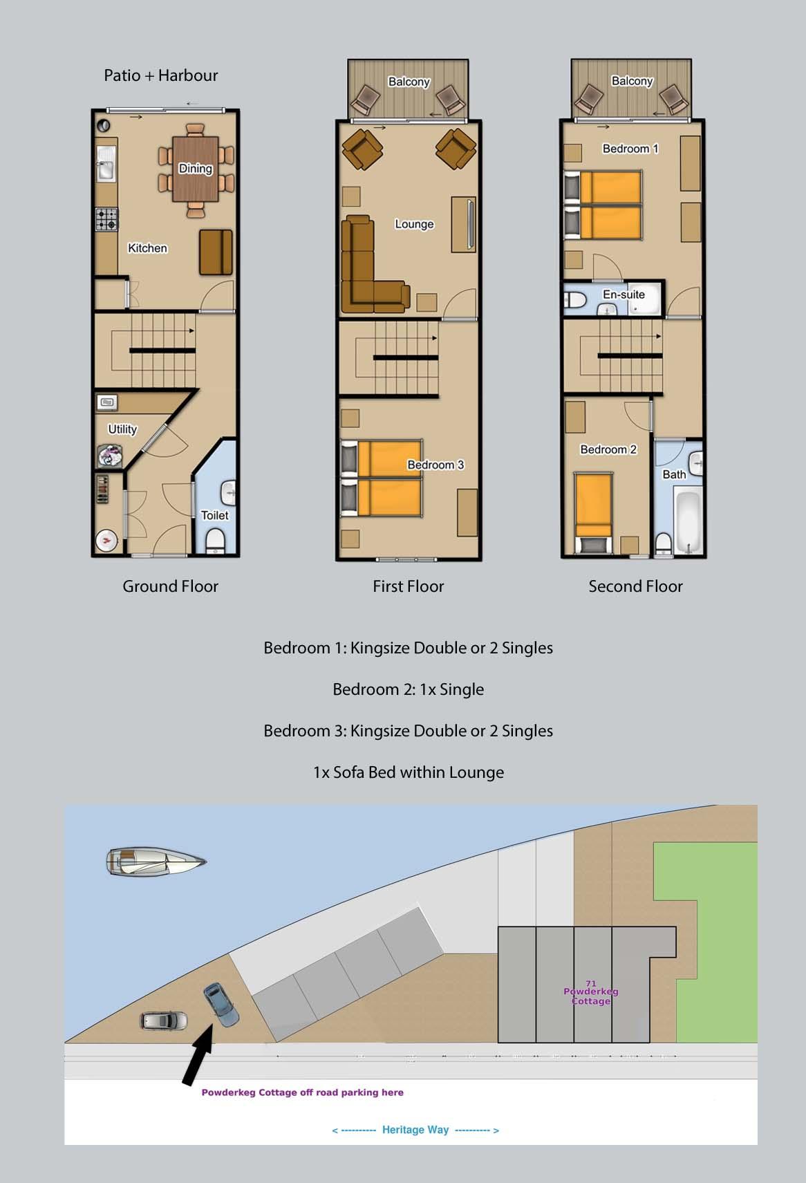 Floor plan for Powderkeg Cottage