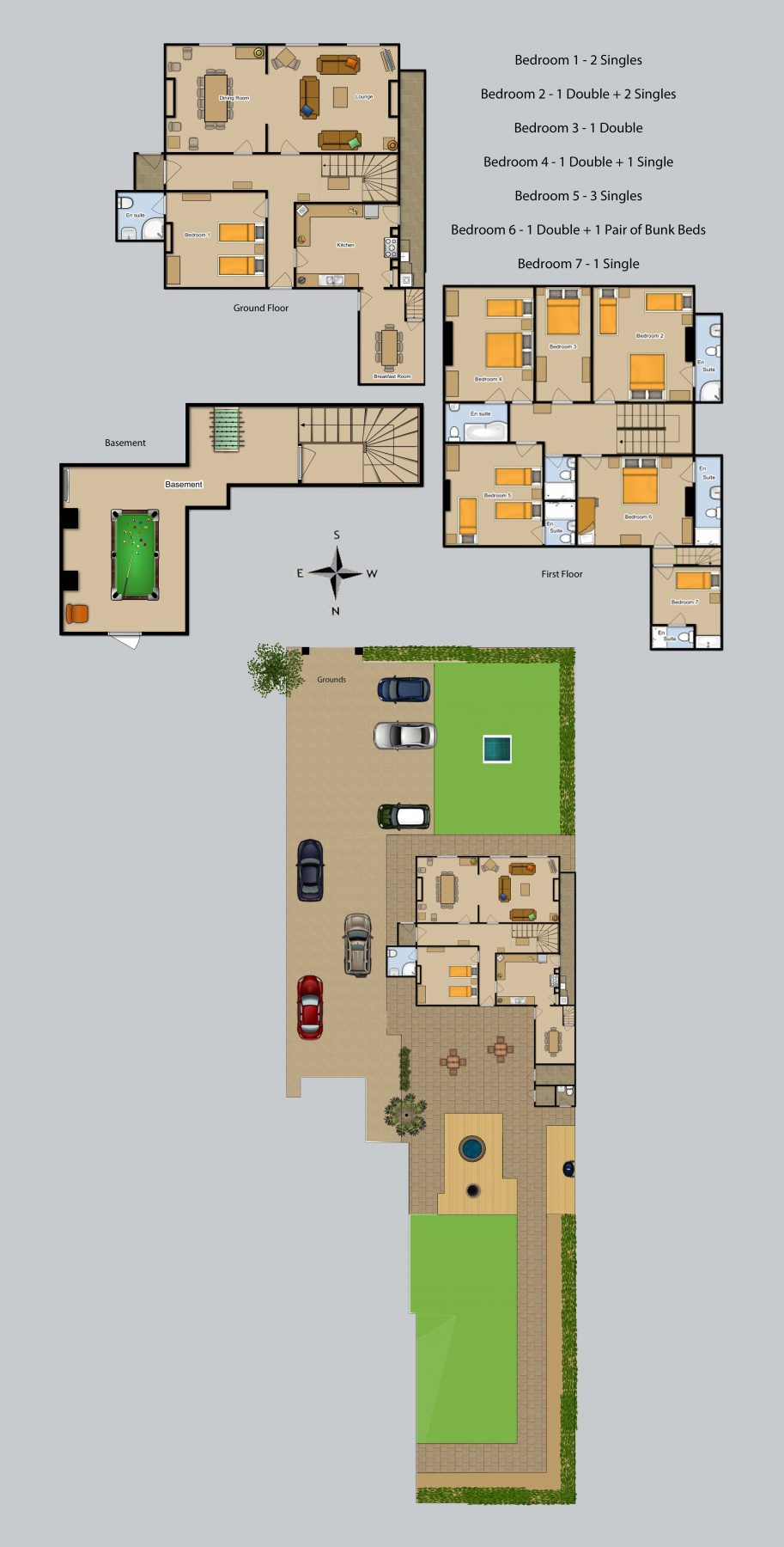 Floor plan for Bury Villa