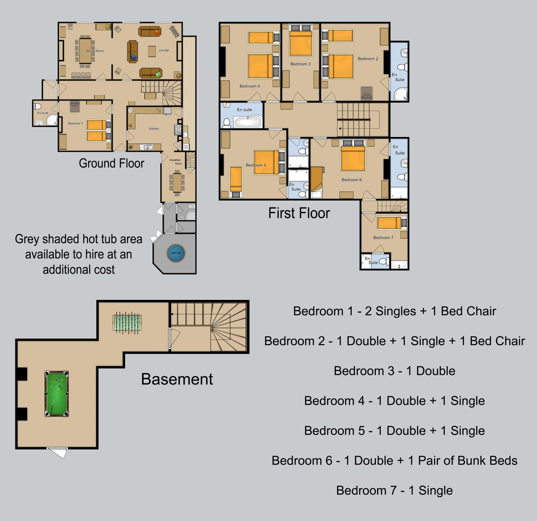 Floor plan for Bury Villa