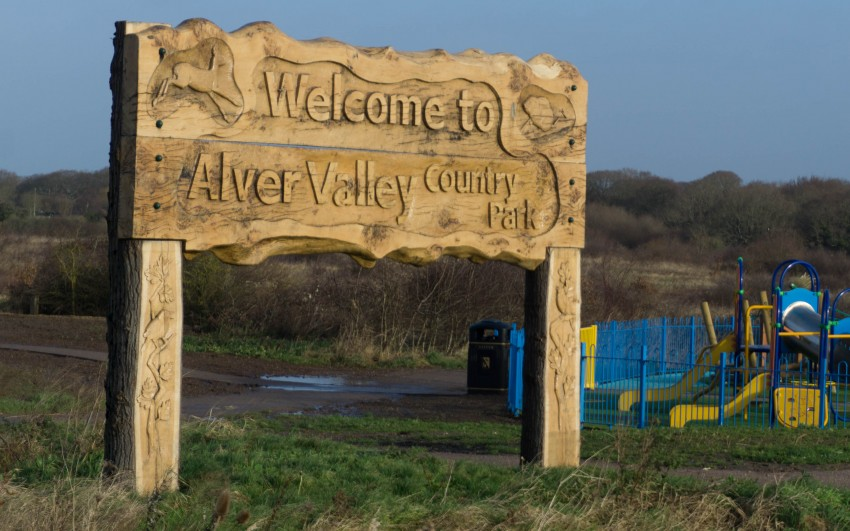 alver valley country park welcome sign