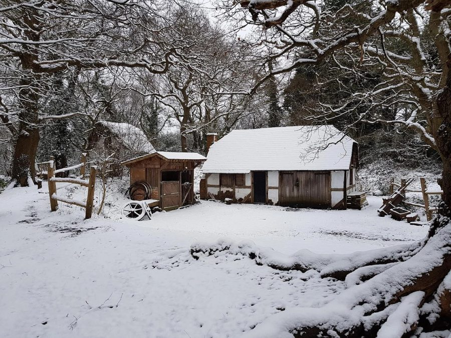 village of little woodham in the snow