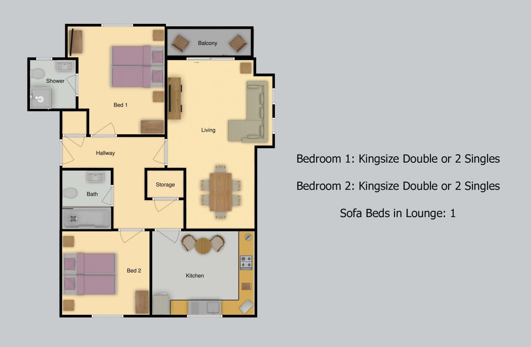 Floor plan for Priddy's Hard Apartment